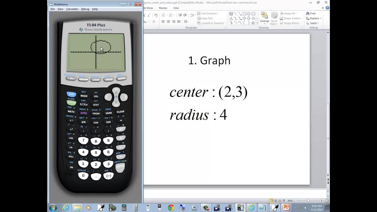 Technology in college algebra graphing circles given center technology in college algebra graphing circles given center and radius ti 84 plus youtube ccuart Image collections