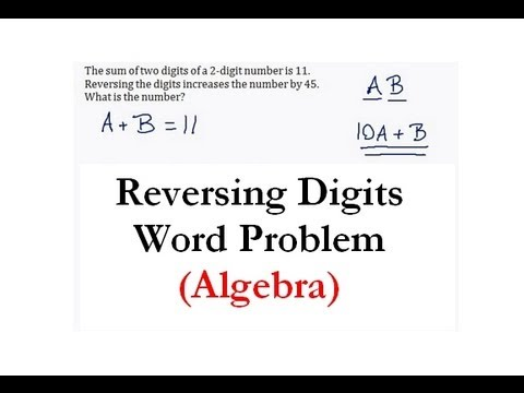 Systems Of Equations Reversing Digits Word Problem 1