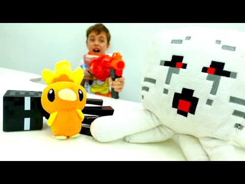 Майнкрафт видео: Стив и Торчик (Покемоны) сражаются с мобами! Видео для мальчиков