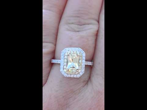 Precision Cut Canary Yellow Sapphire in Diamond Halo Engagement Ring with Yellow Diamonds