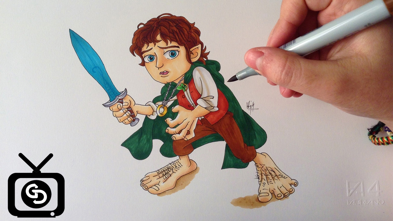 drawing frodo baggins cartoon version the lord of the rings