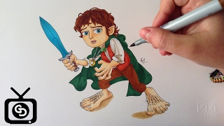 Drawing Frodo Baggins ( Cartoon Version - The Lord of the Rings )