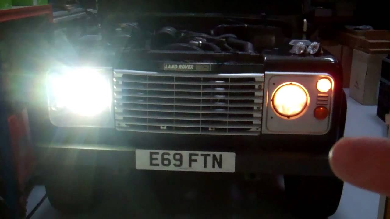 Land Rover Defender Led Headlight Demonstration Youtube