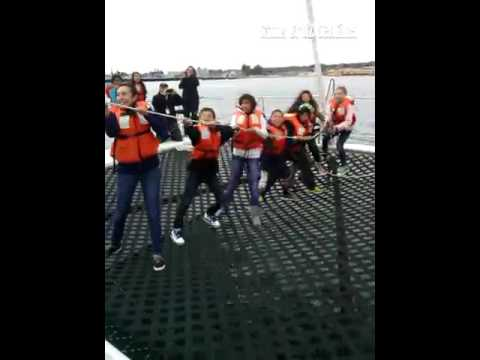 Bolsa Knolls middle school students raise the sail aboard the O'Neill Sea Odyssey catamaran