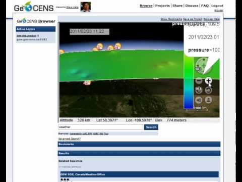 GeoCENS Sensor Web 3D Virtual Globe