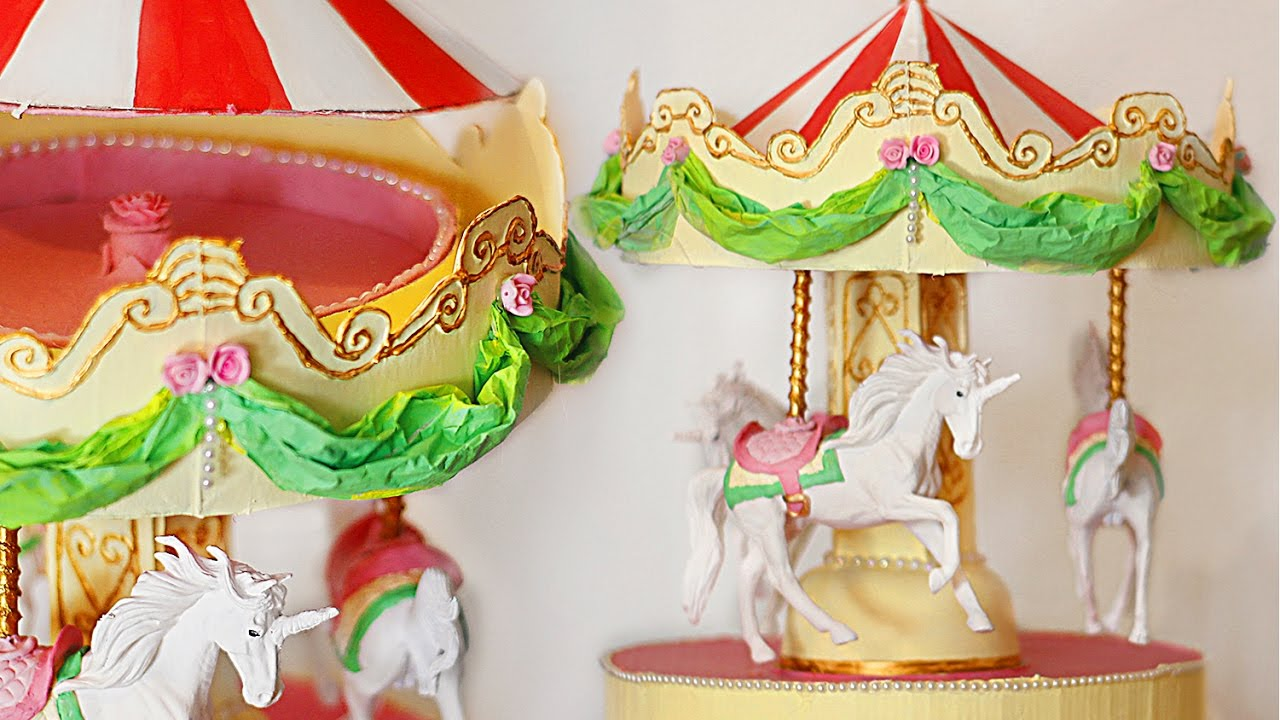 Organizador unicornio tiovivo carrusel diy manualidades - Manualidades con cajas ...