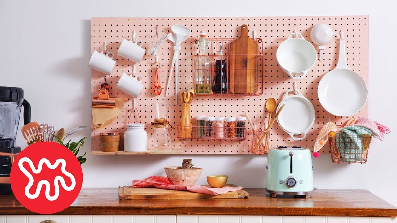 pegboard kitchen aid toasters storage wall diy nar youtube