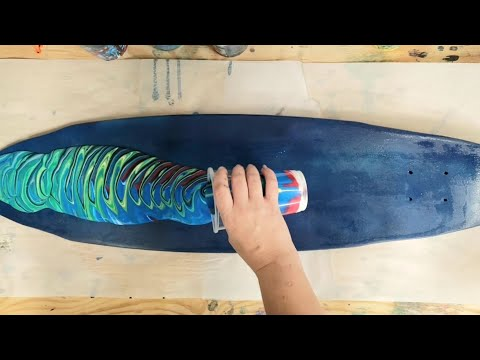 Acrylic pour on a longboard (skateboard)