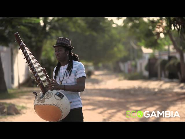 Jally Kebba Susso performs kora at the Eco Gambia offices in Banjul, Gambia