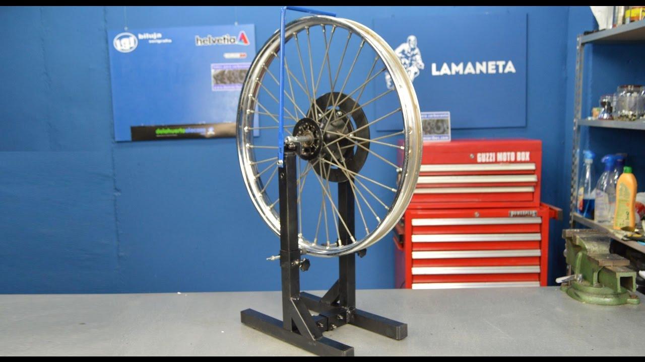 Util casero para radiar una rueda de moto, funcionamiento Parte 2 ...