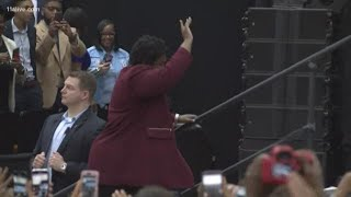 Stacey Abrams takes the stage with Barack Obama at rally
