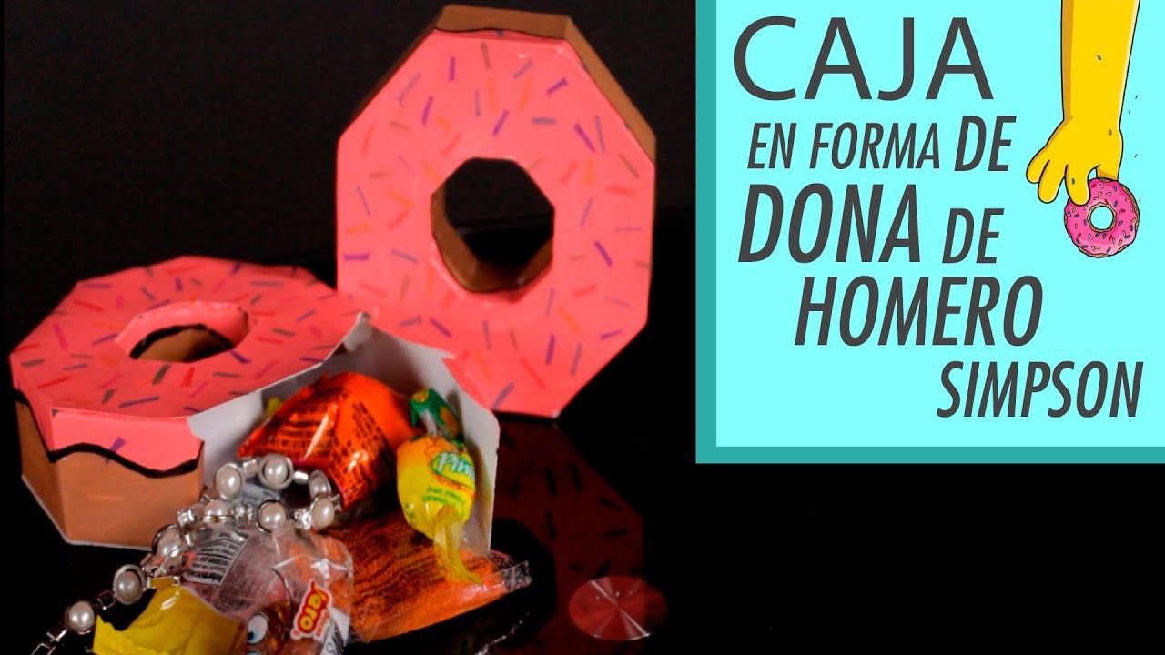 Caja de regalo en forma de dona de Homero Simpson △ DIY donuts box ...