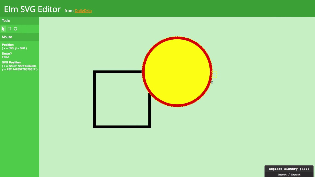 Editing SVG shapes interactively with the mouse in Elm