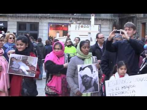 Pakish Special Report,Protest in Barcelona Against US Drone Attacks in Pakistan.