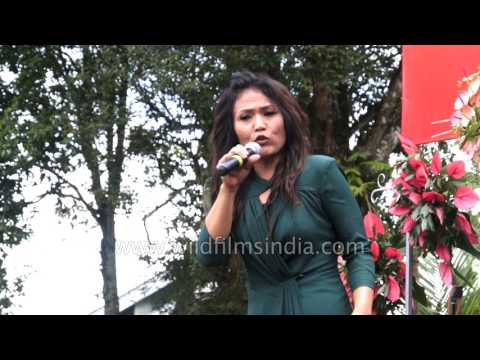 Rebecca sings Mizo song at Anthurium Festival in India