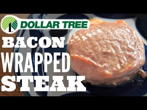$1 BACON Wrapped STEAK | Dollar Tree Taste Test