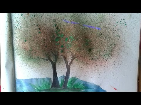 How to paint trees using spray painting for kids