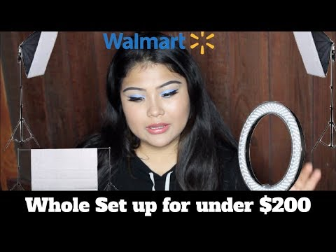 cheapest youtube setup!!! backdrops ringlight soft boxes all for under $200 from walmart!
