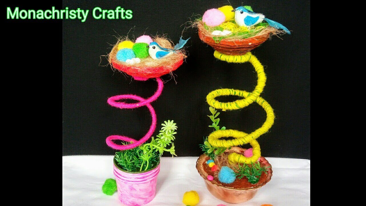 How to make birds nest craft from waste materials for Waste material products craft
