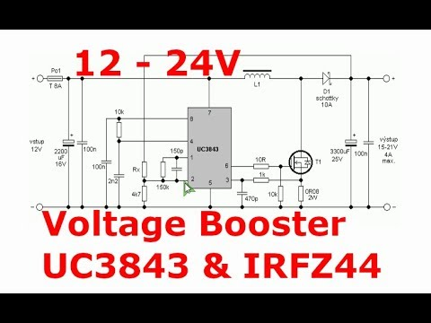 150W voltage booster with UC3843 and IRFZ44 mosfet 12V-24V