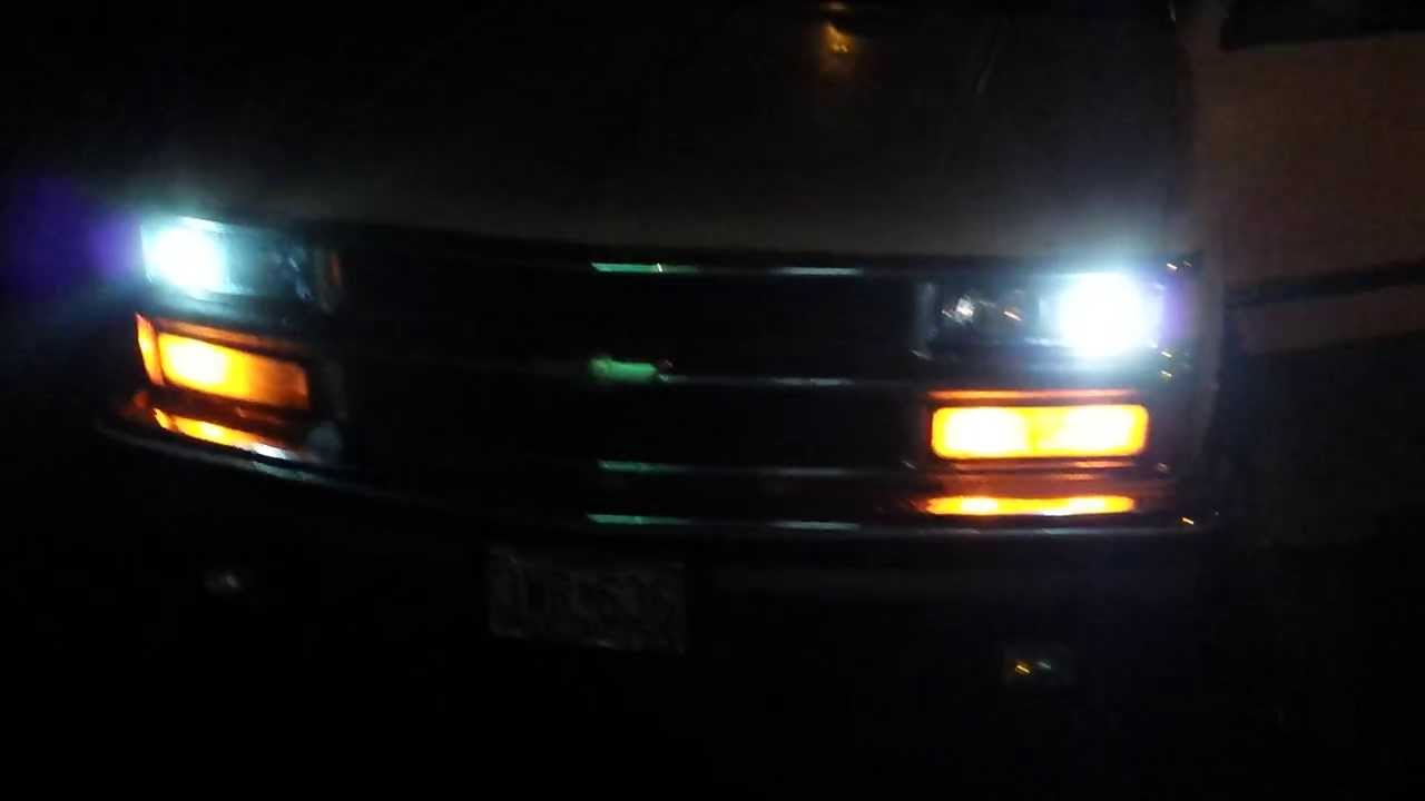 Spyder Projecter Headlights On 1994 Chevy K1500 Youtube