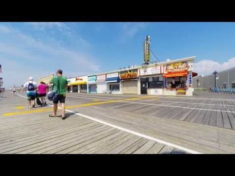 Ocean City, NJ - Boardwalk Bench Facing South - 4K Video