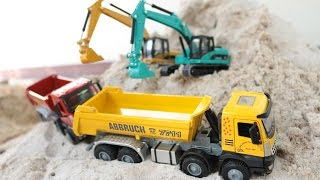Excavator and Truck Digger For Kids รถแม็คโครจำลองการทำงาน รถดั้ม รถบรรทุก รถตักดิน
