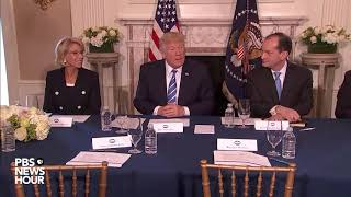 President Donald trump speaks on jobs and North Korea at workforce roundtable
