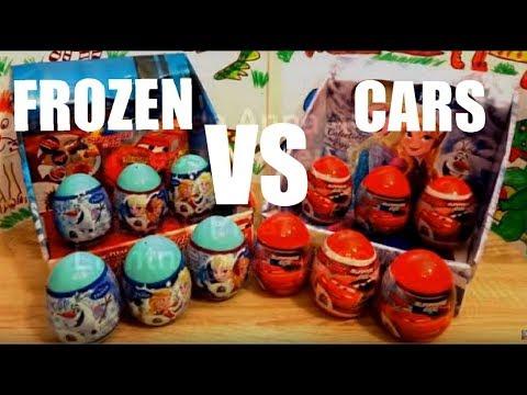 6 Cars (Lightning McQueen) vs  6 Frozen (Elsa the Snow Queen)  Kinder Surprise Eggs