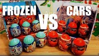 Disney Frozen vs Disney Pixar Cars 12 Surprise Eggs Opening #116