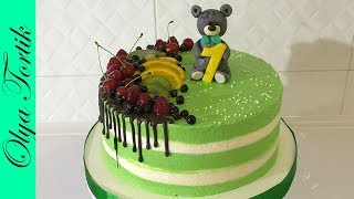 Кремовый торт на один годик ребенку Украшение торта КРЕМ-ЧИЗ /// Olya Tortik Домашний Кондитер