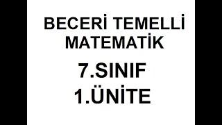 MEB BECERİ TEMELLİ TESTLER /SORULAR MATEMATİK 7.SINIF 1.ÜNİTE 1-10 SORULAR