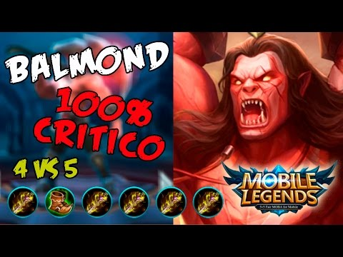 MOBILE LEGENDS BALMOND BUILD 100% CRIT  MVP 4 VS 5   18-4 ES