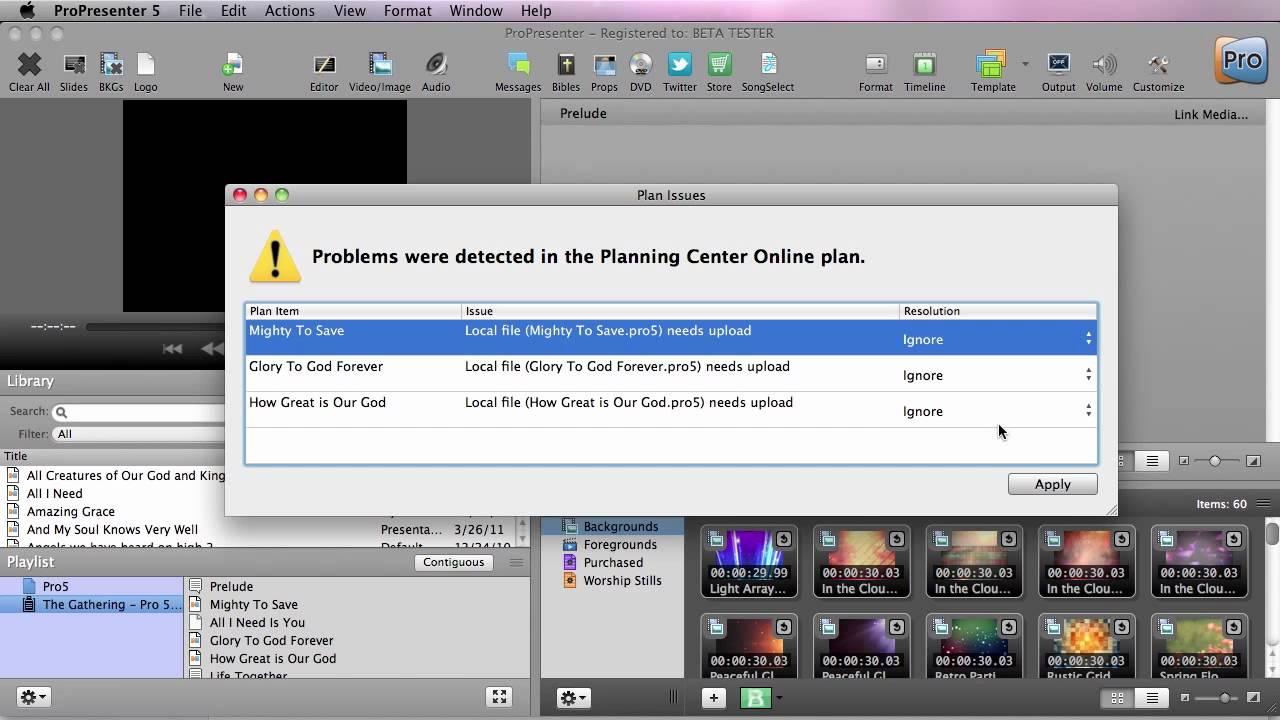 ProPresenter 5 Planning Center Online Integration