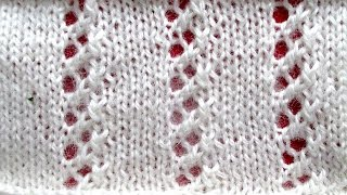 Узоры спицами - ажурный узор для весенней шапочки