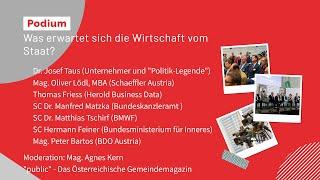 """Agenda Austria 2020 - Podiumsdiskussion: """"Was erwartet sich die Wirtschaft vom Staat"""""""