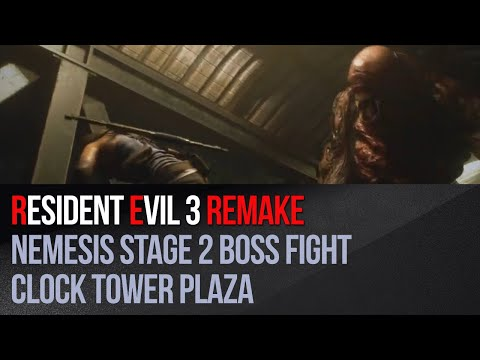 Resident Evil 3 Remake - Nemesis Stage 2 boss fight - Clock Tower Plaza