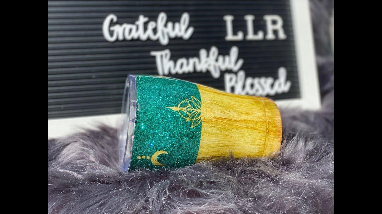 Woodgrain peekaboo glitter tumbler