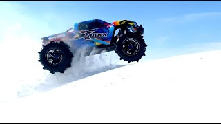 PADDLE TIRES 8S (30v) ELECTRIC TRAXXAS XMAXX MONSTER TRUCK BASHING in DEEP SNOW   RC ADVENTURES
