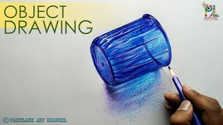 Drawing a Plastic Glass | How to draw Transparent Glass { Object }