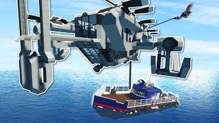 SKYCRANE HELICOPTER RESCUE!? - Stormworks Multiplayer Gameplay - Sinking Ship Survival