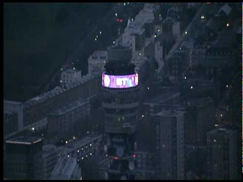 Stunning aerial views of London + BT Tower from helicopter for Sport Relief