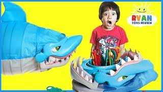 Shark Bite Let's Go Fishin' Family Fun Games for Kids! Parent vs Kid wins Egg Surprise Toys