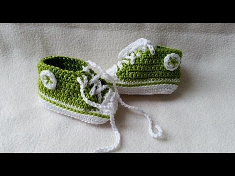 Crocheting Baby Shoes Sneakers For Babies With Subtitles Part 35