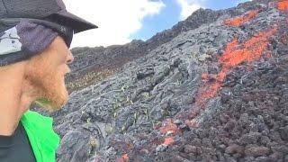 Surface Lava Flow Tumbles Down Pali (May 20, 2017 - Hawaii)