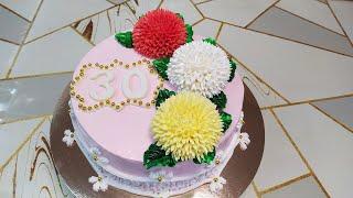 Торт с хризантемами для девушки
