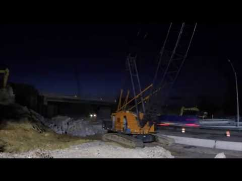 Time-lapse: Eastbound I-96 bridge demolition at northbound US-23