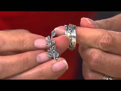 Sterling Silver Rose Design Spinner Ring By Or Paz With Nancy Hornback