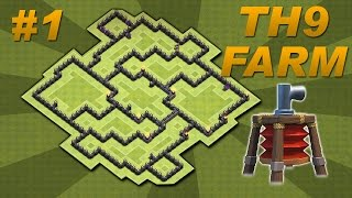 BEST Town Hall 9 (TH9) Farming Base Design -Air Sweeper + 4 Mortars (Clash of Clans) Setup #1