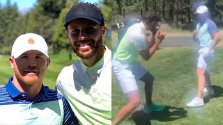 CANELO & STEPHEN CURRY SQUARE UP & PLAY FIGHT AT THE GOLF COURSE, CANELO SHOWS HIM HIS KILLER SPEED!